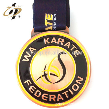 Custom zinc alloy bronze own karate design metal sports Federation medal