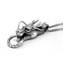 Colar de pingente de dragão moda acessórios unissex aço inoxidável 316L