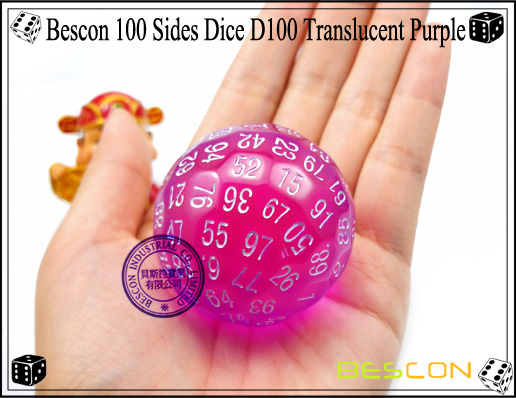 Bescon 100 Sides Dice D100 Translucent Purple-1