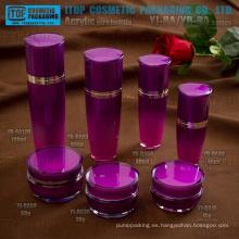 Color e impresión de alta calidad personalizable redondo forma acrílico loción botella y empaque cosméticos crema tarro