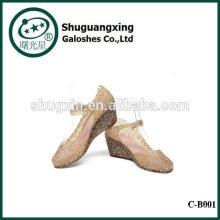 Vida de la música en el bosque de lluvia Botas zapatos del estudiante impermeable con gelatina cristal lluvia Linda botas de venta C-B001