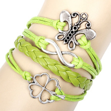 Metal Butterfly lucky four-leaf clover infinity bracelet green woven wax cord bracelet antique silver plated leather bracelets