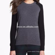 15PKCAS16 2016-17 winter knit women's contrast color cashmere sweater