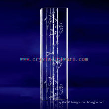 K9 3D Laser Bamboo Etched Crystal with Pillar Shape