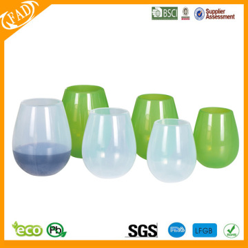 Flexible Stemless Silikon rot-Wein-Cups