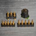 Conector de clavija Pogo plateado oro con carga de resorte, ahorro de espacio, alta corriente y fiabilidad