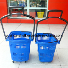 Wheels Plastic Shopping Basket