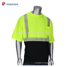Nouveau Style Haut Polyester Salut Vis Viz T-shirt de Sécurité à Manches Courtes Tone Deux Tons de Travail de Contraste Avec Rubans Bandes Réfléchissantes Et Poche