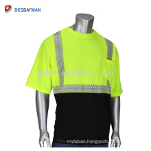 New Style Top Polyester Hi Vis Viz Short Sleeve Safety TShirt Two Tone Contrast Work Tee With Sliver Reflective Tapes And Pocket
