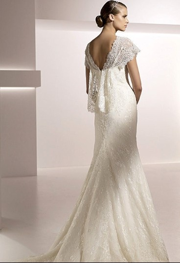 Trumpet Mermaid V-neck Short Sleeves Chapel Train Lace Wedding Dress