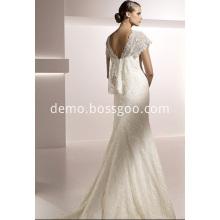 Trumpet Mermaid V-neck Short Sleeves Chapel Train Lace Wedding Dress