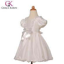 Grace Karin New Puff-Sleeve Taffeta White Short Sleeve Flower Girl Dress CL4833
