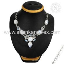 Выдающийся Радужный Лунный камень драгоценный камень серебряное ожерелье, оптовая 925 ювелирные изделия стерлингового серебра индийский ювелирные изделия