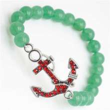 Green Aventurine Gemstone Bracelet with Diamante anchor alloy Piece