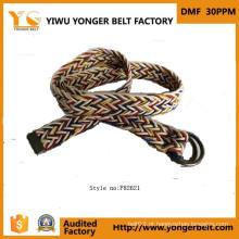 Hot Venda Brown Handmade Mens Woven couro trançado cinto de Yiwu Belt Buckle