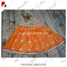 JannyBB spaghetti strap orange dots girls dress