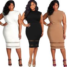 Imprimé mode solide plaine premium polyester longues femmes dentelle sexy taille plus robe