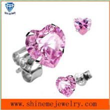 Pink Zircon Inlay Stainless Steel Fashion Jóias Ear Stud (ER2665)
