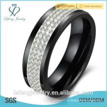 Amantes de presente do anel coreano, anel de cerâmica preta, três fileiras de strass de cristal para o Natal