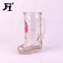 western cowboy boot shaped clear glass mug cup with handle 650ml