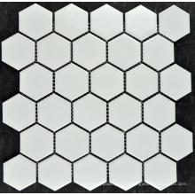 Tuile de mosaïque de porcelaine blanche pure de Hexagonal petite