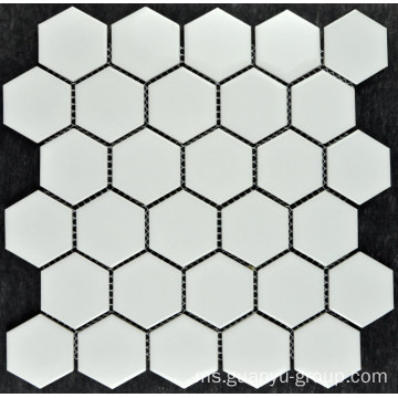 Jubin mozek tulen porselin hexagon kecil putih