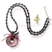 Мода Черный Оникс Крючком Натуральные Морские Раковины Из Бисера Ожерелье