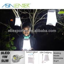 Ásia Líder produtos 10 horas de luz 1700mAH bateria NI-MH carga USB escurecimento ABS 8LED 1W Camping luz decorativa