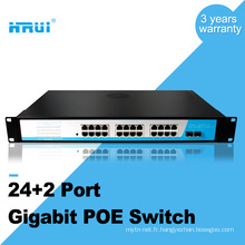 Haute performance 1000M 48v 2 ports sfp 24 ports poe commutateurs