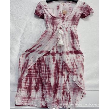 Rayon-V-Ausschnitt-Kleider der Frau