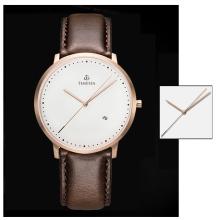 Moda Mens Quartz relógio de pulso analógico com pulseira de couro 72645