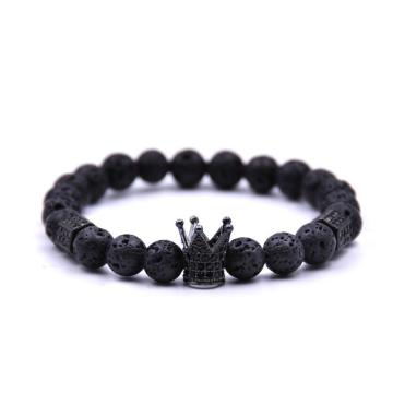 Lava stone women Crown Stretcth Bracelet