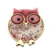 Manufacturers enameled animal owl brooches for lady zinc alloy margin custom brooch