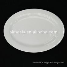 Atacado restaurante placa oval placa de cerâmica branca