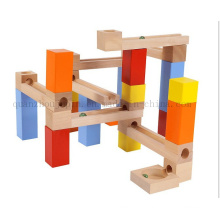 Custom Children Wooden Puzzle Building Block Toy with Channel Ball