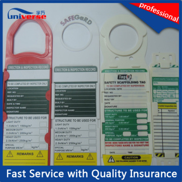 Étiquettes de sécurité d'échafaudage / Tag d'échelle avec prix compétitif