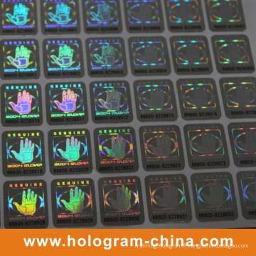 Autocollant d'hologramme de numéro de série de sécurité de 2D / 3D noir