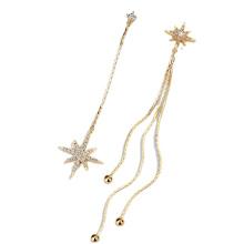 Wedding Jewelry Statement Long Chain Star Asymmetric Earrings For Women Vintage Crystal Big Dangle Earring Women