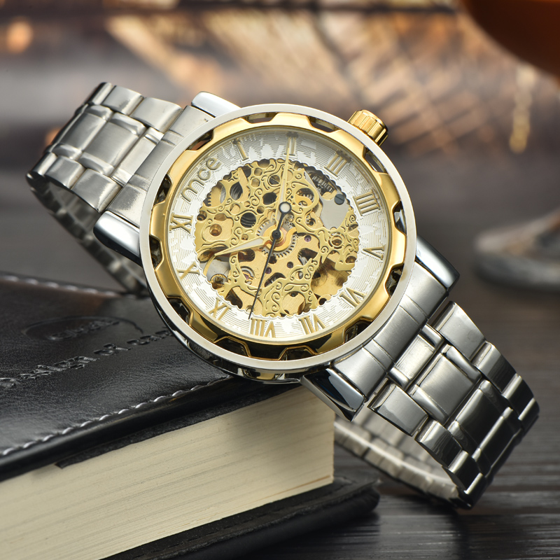 Gold case custom skeleton automatic watches men