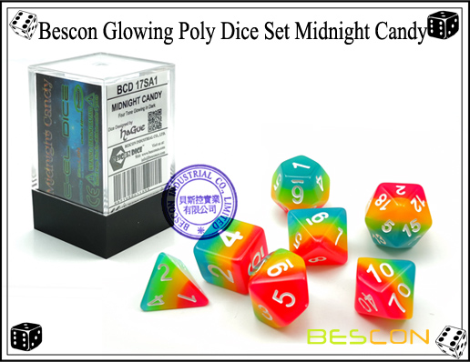 Bescon Glowing Poly Dice Set Midnight Candy-2