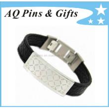 Bracelet ID en cuir avec fermoir à griffe