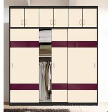 Armoire de portes coulissante en bois pour chambre à coucher (ZH001)