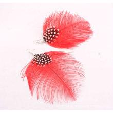 Cheap moda brincos de penas naturais FEA14