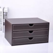 Caja de cajones de oficina de cuero marrón de lujo