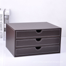 Luxury Brown Leather Office File Drawer Box