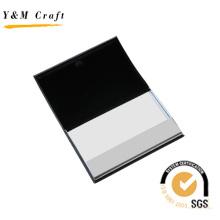 Caso de cartão de nome de metal e pu couro (m05043-1)