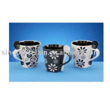 10oz ceramic square coffee cup with spoon flower design for BS09081