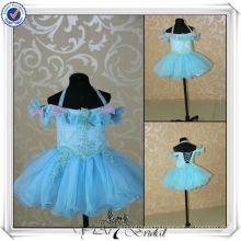 FF0002 Real Sample Blue Organza Fluffy Flower Girl Dress Patterns