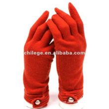 Woman's 100% Wolle gestrickte rote Handschuhe