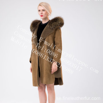 Kvinnor Vinter Medium Hooded Fur Overcoat